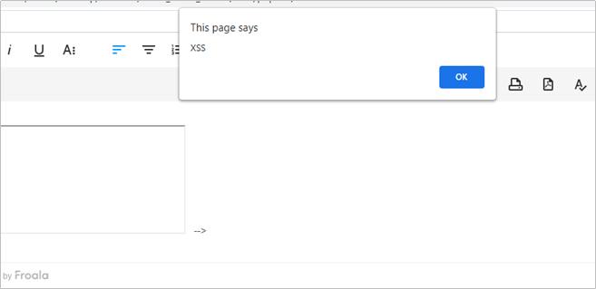 JavaScript alert triggered by XSS